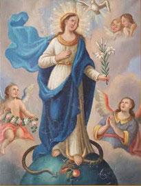 Altes Marienbild 1865, es zeigt die Aufnahme Mariens in den Himmel